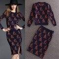 2016 Autumn Winter Women's Knee Length Knitting Split Tail SKirt Suits Kangaroo Print Knitted Wool Sweater Pencil Skirt Sets