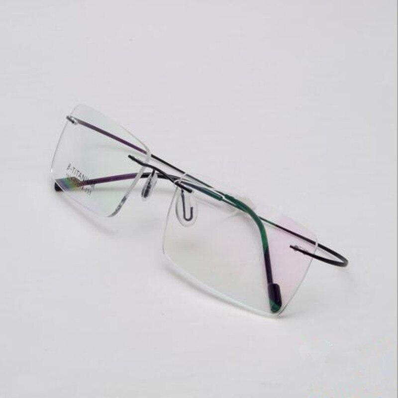 Acheter Luxe marque optique lunettes d ordinateur lecture lunettes cadre  Silhouette titane sans monture de lunettes ... 8e838ed373e2