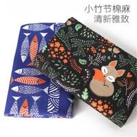 Printed cotton and hemp cloth DIY fabrics Printed fox and fish