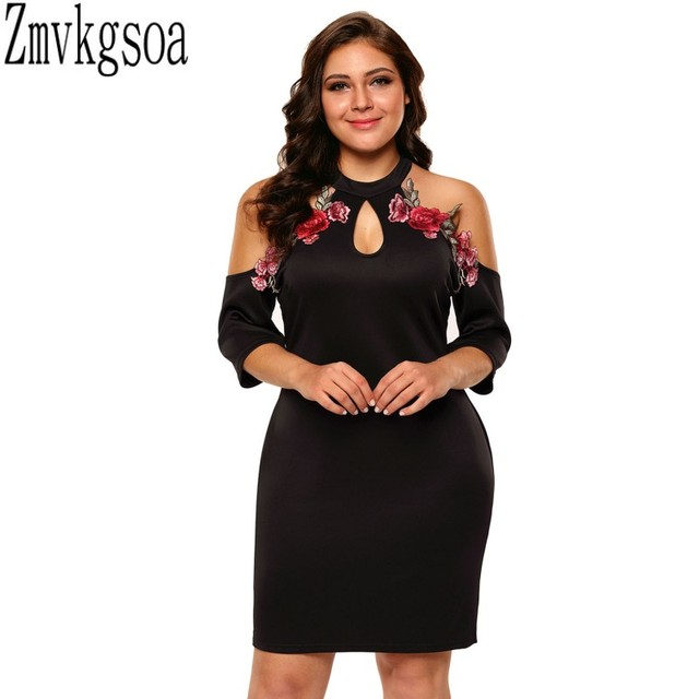 Zmvkgsoa Rose Applique Embroidery Flower Plus Size Dresses For Women