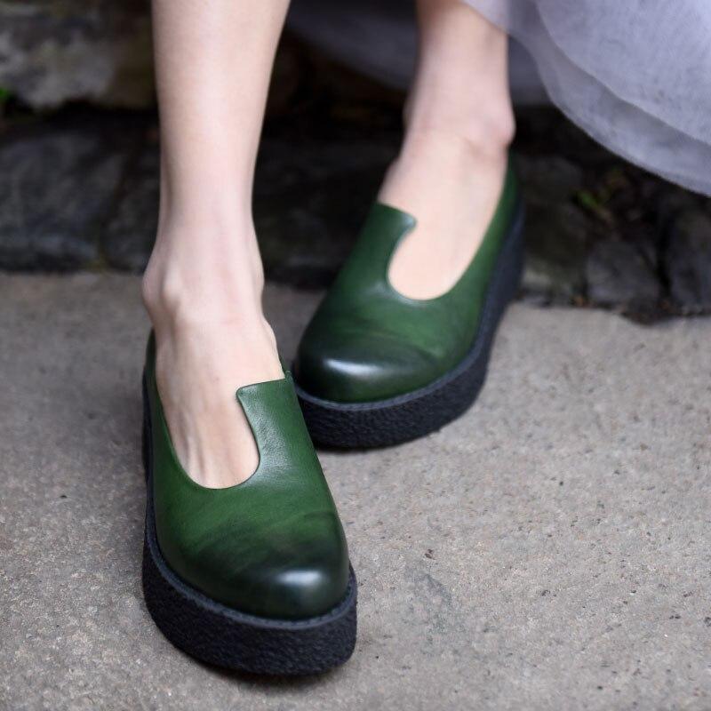 Artmu/Новинка; оригинальная женская обувь на танкетке; туфли лодочки ручной работы из натуральной кожи на толстом каблуке с круглым носком;