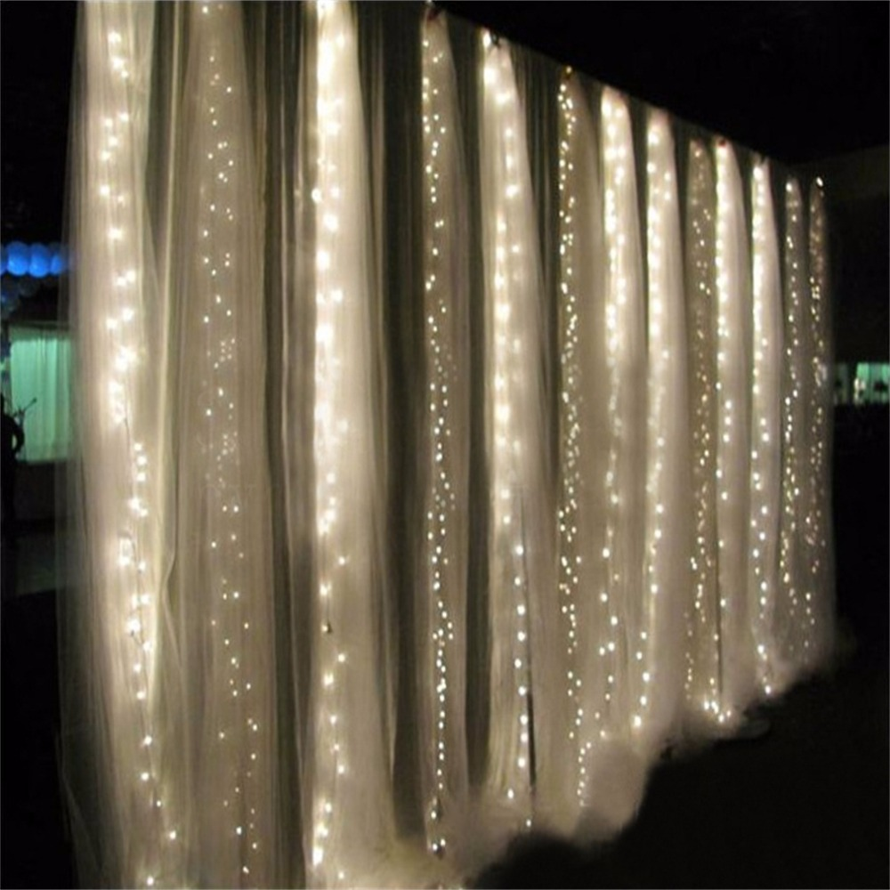 ICOCO 360 LED Lighting Strings Curtain Fairy Light Waterfall Indoor/Outdoor Christmas Wedding White New Arrival