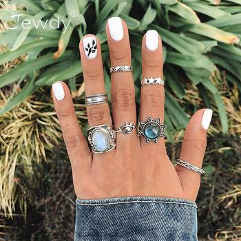 7 sztuk Vintage Crystal Opal kamień Knuckle zestaw pierścieni dla kobiet Hollow Evil pierścionek z oczkiem czeski Party Finger udekoruj biżuteria 2020 tanie i dobre opinie Jewdy CN (pochodzenie) Ze stopu cynku Kobiety KRYSZTAŁ TRENDY Obrączki ślubne GEOMETRIC Zgodna ze wszystkimi Other(Other)