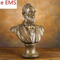 58 см гипса Соединенные Штаты Америки статуя Авраам Линкольн бюст учебных пособий смолы Книги по искусству и Craft украшения дома L2344