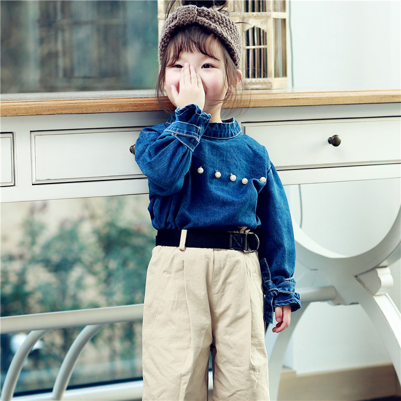 Baby Girl Denim Shirt Spring New Children Shirt Blouses Long Sleeves Cowboy Clothes Pearl Design Baby Girl Clothes Fashion Tops
