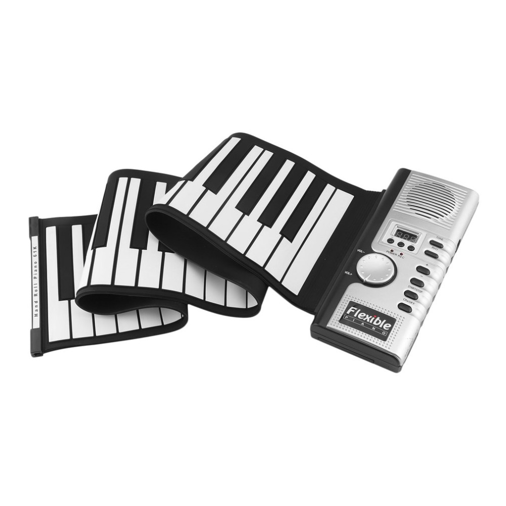 Waterproof Rechargeable Digital Keyboard Piano 61 Keys 128 Tones Portable Flexible Electronic Roll Up Piano Built-in Speaker