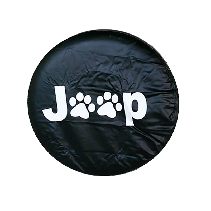 Black Car Spare Wheel Tire Cover Waterproof with Red Paws 16Inch PU Leather