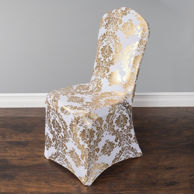 Chair Covers Price Husk Armchair Replica Aliexpress Com Buy Gold Colour Print Cover Pattern Lycra For Wedding Party Decoration Cheap Spandex Fit All Chairs