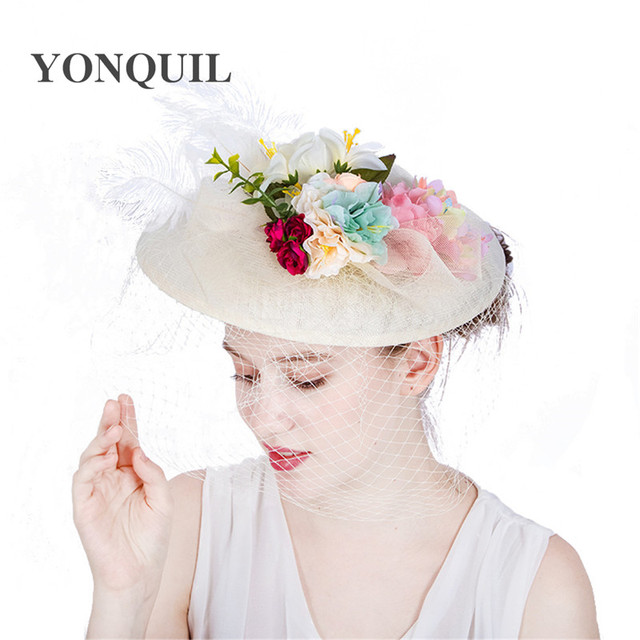 Fashion ivory Wedding Hats And Fascinators For Bride 30CM Big Cute Style  Floral dot Veil Bowler Hat Women Banquet Party Headwear d826a4aa1edc