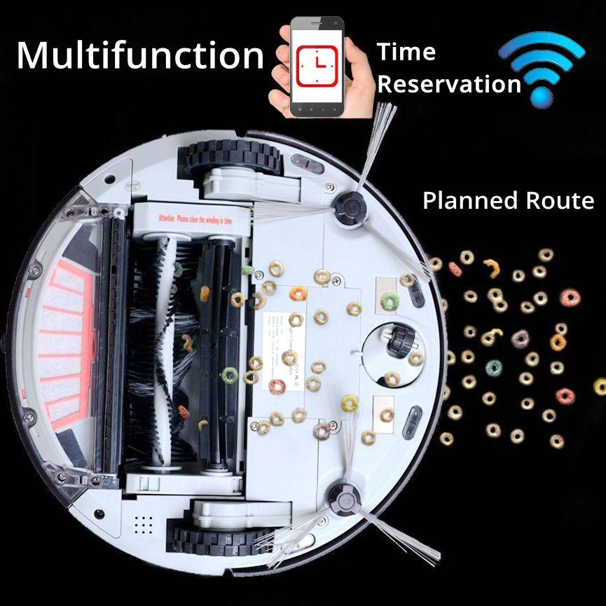Robot Aspirateur avec 1200 PA Puissance D'aspiration pour Mince Tapis En Bois étages vadrouille Wi-Fi Connectivité Prévues Route Doramach FRV8