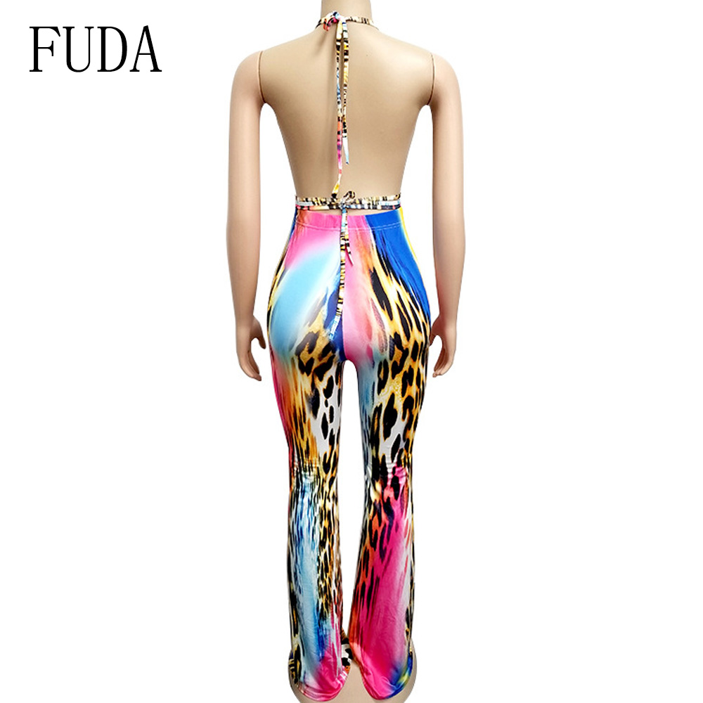 FUDA Sexy Summer Women 39 s Print Siamese Micro Flare Bodysuit Fashion Backless Cross Bandage Bodycon Feminino Jumpsuit Rompers in Jumpsuits from Women 39 s Clothing