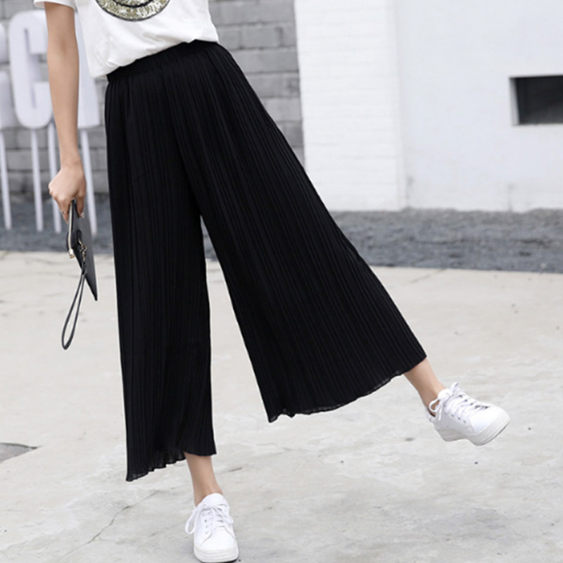 Women Chiffon Loose Pants High Waist Ruffled Hem Thin Pleated Trumpet Casual Trousers GDD99