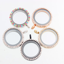10Pcs/lot 30mm mixed color round alloy glass with rhinestone floating locket magnetic charm