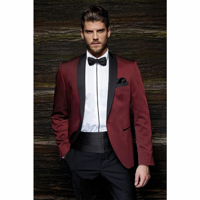Burgundy Satin Groom Tuxedos Blazer Black Pants Groom Men\'s Wedding ...