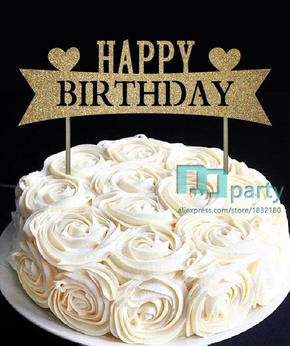 Glitter Gold Happy Birthday Cake Toppers, Happy Birthday