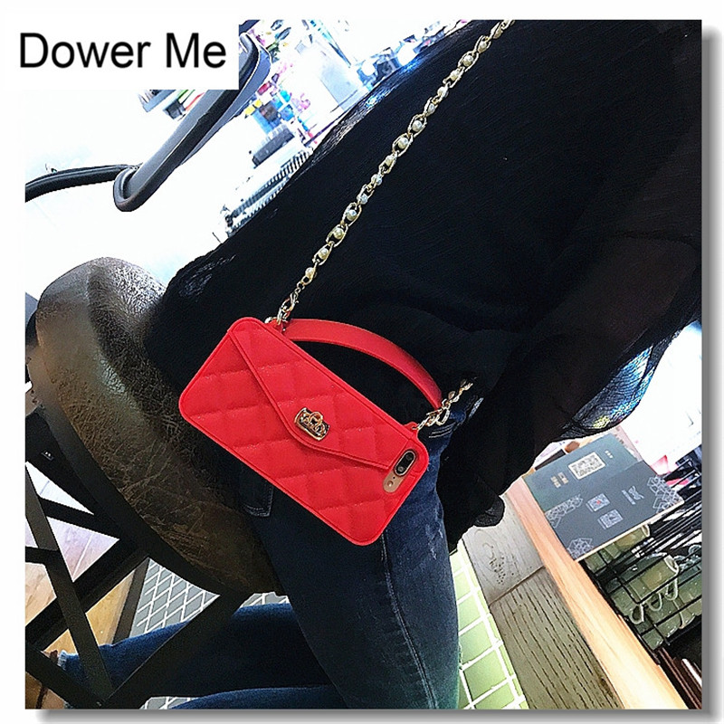 Dower Me Glitter Red Silicone Card Bag Metal Clasp Women Handbag Purse Case  Cover With Chain For Iphone XS Max XR X 8 7 6S Plus-in Wallet Cases from ... 0c51580b6789