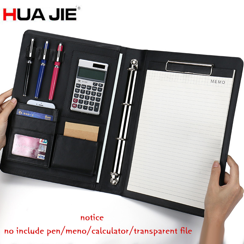 HUA JIE A4 Multi-function PU Leather Portfolios for iPad/iPhone Writing Pad Business Presentation Binder Folder Clipboard Files