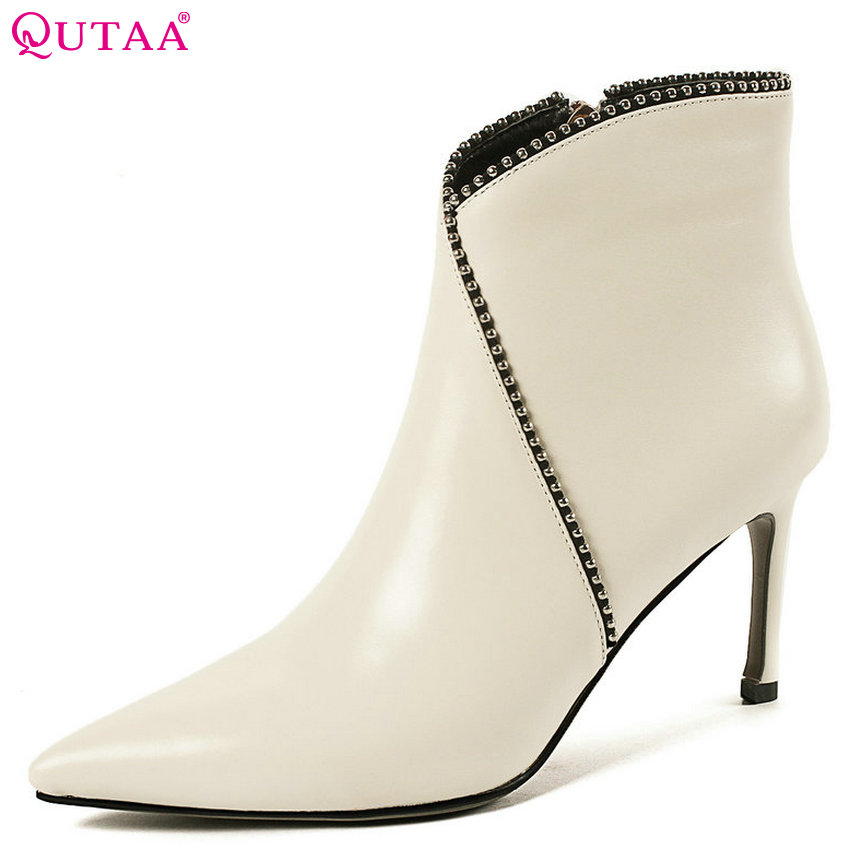 QUTAA 2019 Women Ankle Boots Platform Women Shoes Winter Boots Sexy Elegant Zipper Pointed Toe Casual Women Boots Size 34-43 цена
