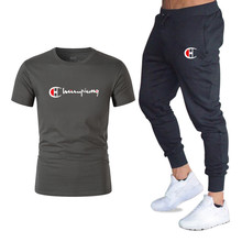 New Men's Sets T Shirts+pants Two Pieces Sets Casual Tracksuit Male Casual Tshirt Gyms Fitness trousers 2019 men Classic Brand