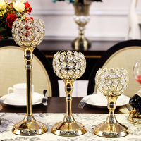 Crystal Gold Candlesticks Europe Romantic Candlelight Dinner Metal Candlestick Europe Crystal Candle Holder for Wedding Decors