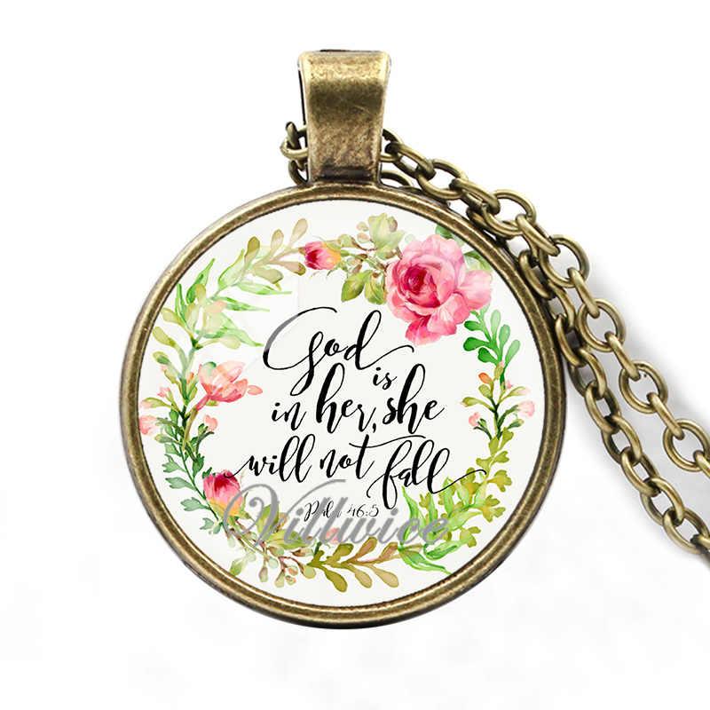 Villwice Ayat Alkitab Kalung Tuhan Yang Dia Tidak Akan Jatuh Alkitab Kutipan Perhiasan untuk Wanita Pria Iman Kristen hadiah