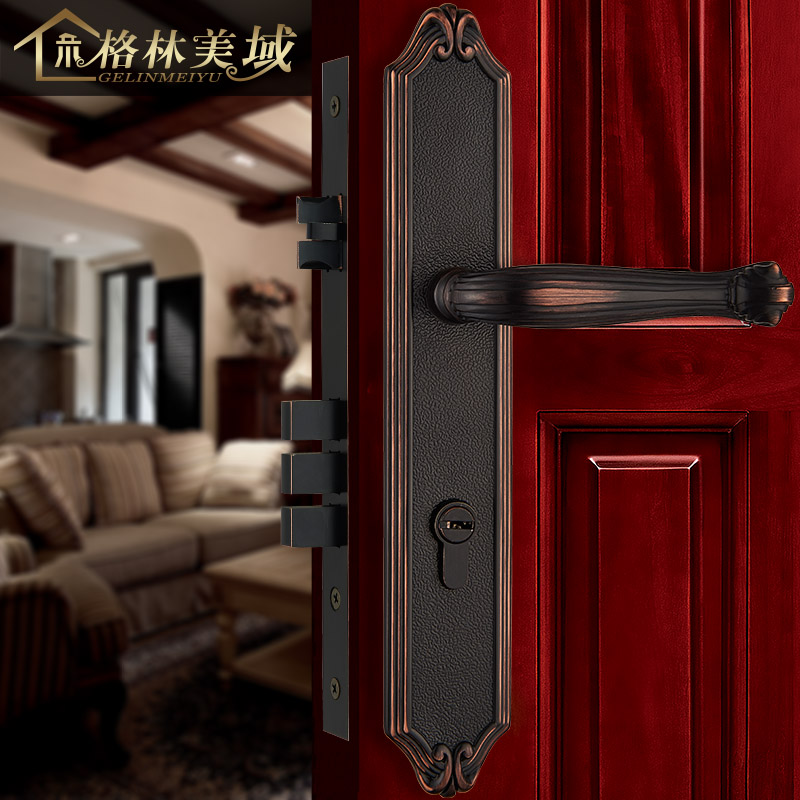 European interior door locks retro all - copper door locks luxury solid wood door locks mechanical locks door yale locks