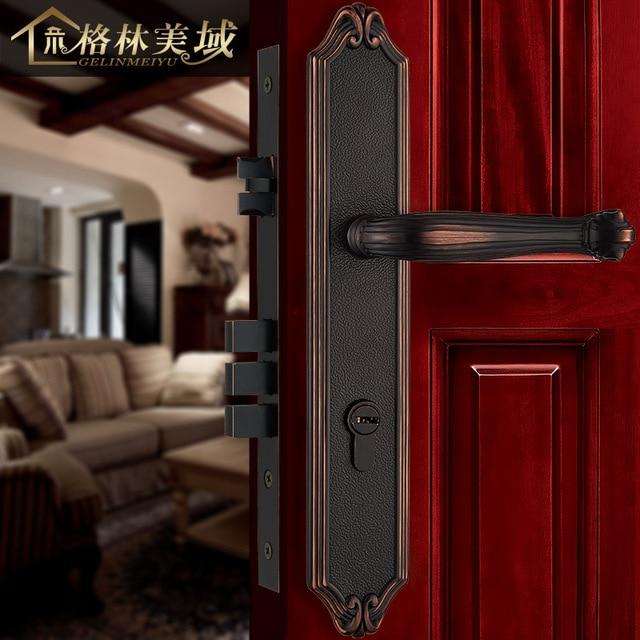 European Interior Door Locks Retro All   Copper Door Locks Luxury Solid  Wood Door Locks Mechanical