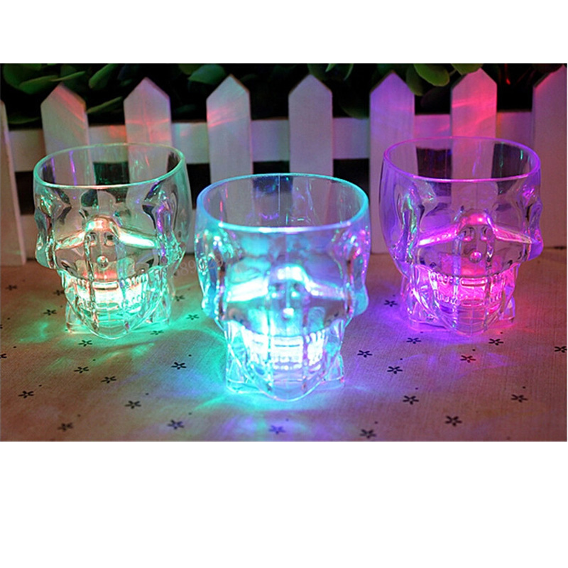 2018 Spridda Gafas Led Blinkande Led Ljus Cup Maskig Glass Flash Wine Öl Bar Mugg Dricka Ghosts For Party Halloween Ktv Hogar