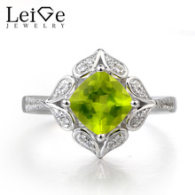 Leige Jewelry Natural Peridot Ring Wedding Ring Cushion Cut Green Gems August Birthstone Ring 925 Sterling Silver Female Rings
