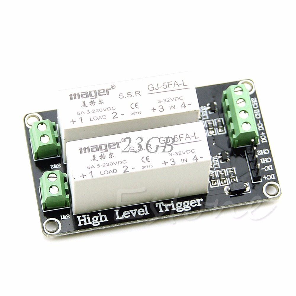 цена на 2 Channel SSR Solid State Relay High-low trigger 5A 5V 12V For Uno R3 N27