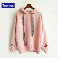 Hoodie With Hood Kawaii Cashmere Women Hoodies Table Tennis Embroidered Letter Drawstring Harajuku Street Thick Sweet