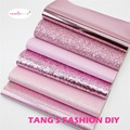 6pcs- 20X22CM DIY Hair Bow Material Dark Pink Color Mix DIY PU Synthetic Leather Set