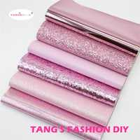 6pcs-High Quality NEW MIX STYLE DARK PINK color mix PU leather set/synthetic leather set/DIY fabric artificial leather