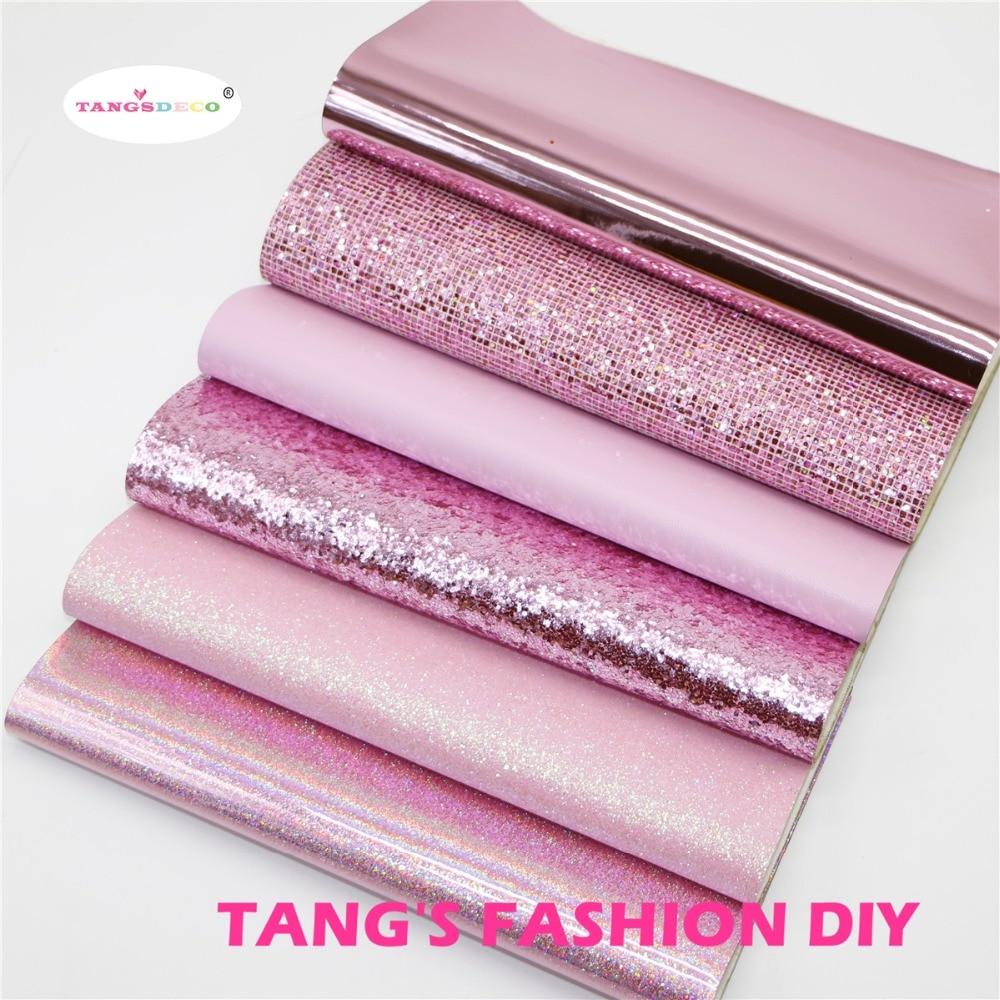 6pcs-высокое качество новый смешанный стиль темно-розовый цвет смешанный pu кожаный комплект/синтетическая кожа комплект/DIY ткань 20 x см 22 см за шт