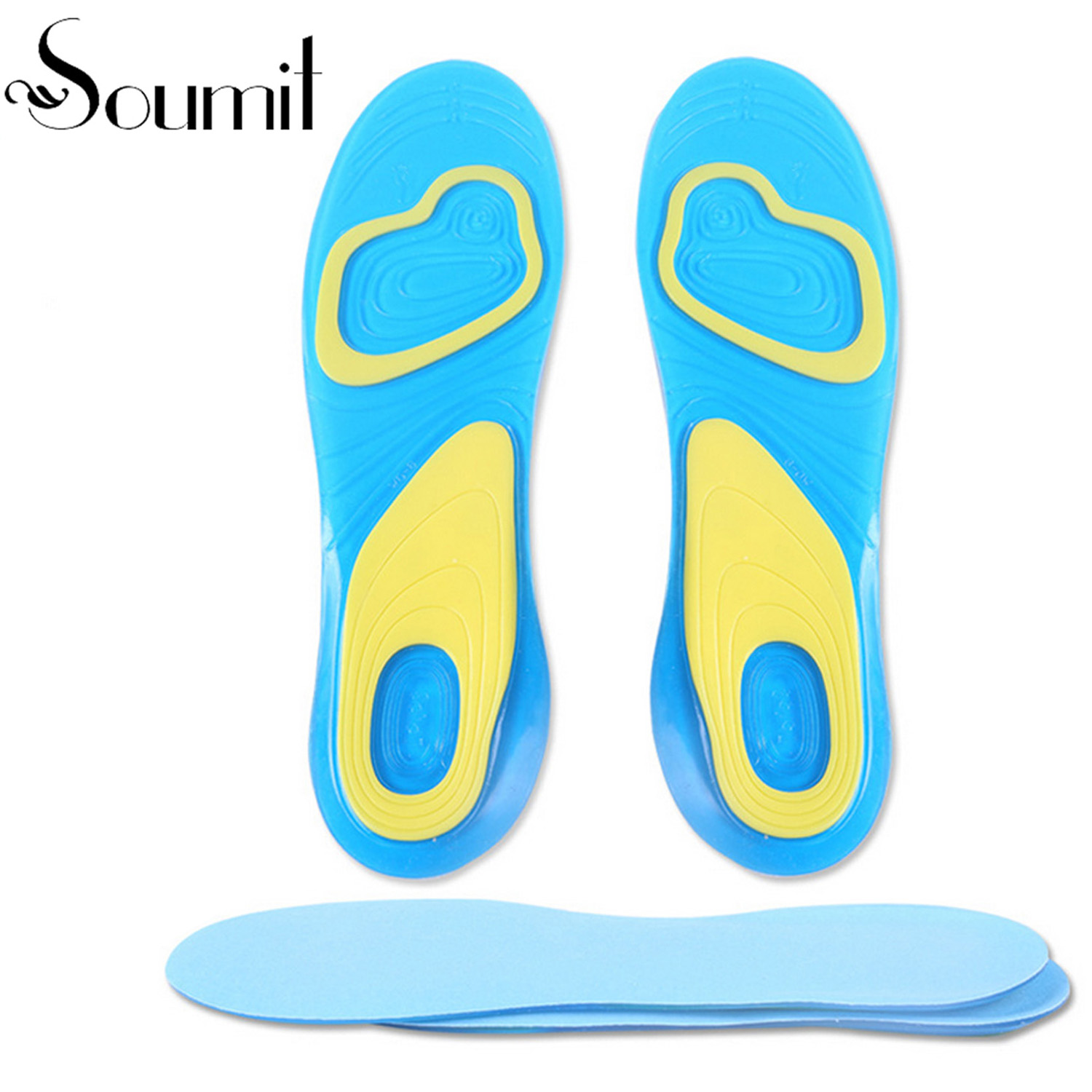 Full Length Sports Soft Silicone Gel Air Cushion Insole Hiking Running Shoe Insoles Pads Absorb Shock Footbed for Men and Women sports silicone massaging gel insole for men women shoes comfortable cushion hot selling