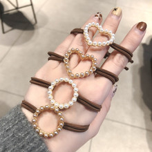 1PC Women Love Circle Pearls Elastic Hair Bands Korean Accessories Simple Ropes Ponytail Holders Scrunchy for Girls