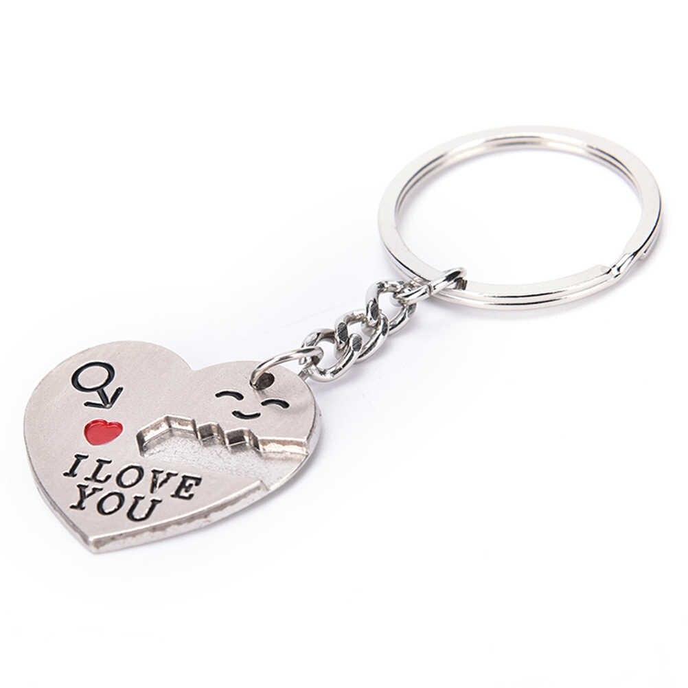 Модный брелок для ключей в форме сердца серебряного цвета для влюбленных в подарок на день Святого Валентина 1 пара ключей с надписью «I Love You»