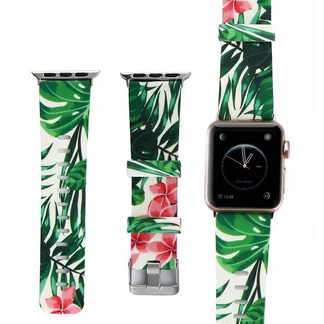 Мягкий силиконовый ремешок для часов 38 мм 42 мм для Apple Watch группа 1/2/3/4 серии 40 мм 44 мм с цветочным принтом Стиль ремешок для iwatch браслет