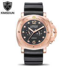 KIMSDUN Top Brand Luxury Men Automatic Machinery Watch Fashion Clock Leather Strap Wristwatch Relogio Montre