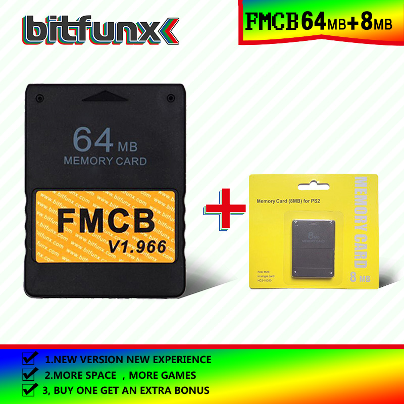 Bitfunx Free McBoot Memory Card (FMCB)64MB  V 1.966 (new Version &new Function)+8/16/32/128/MB Memory Card Pack