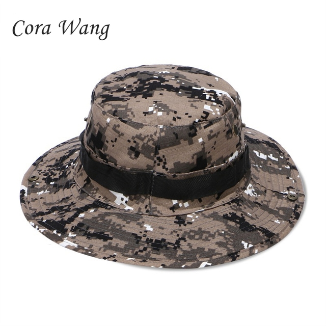 Cora Wang Boonie Hats Tactical Airsoft Sniper Camouflage Tree Bucket Hat  Accessories Military Army American Military Men Cap 33593c2ec661