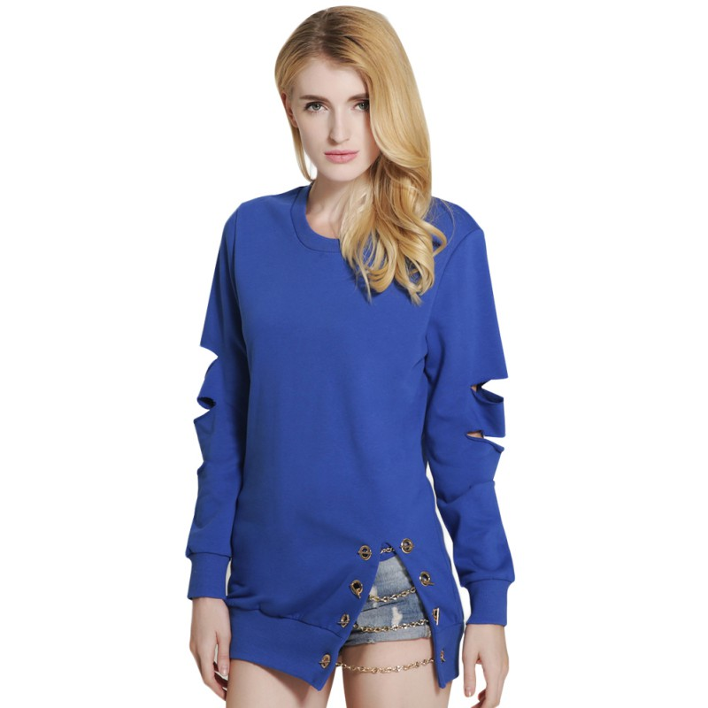 Women Long Style Hollow Out Chain Head Hedging Design Loose Hoodies Ladies Pullover Tops S4