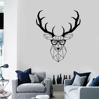 Free shipping Head Deer Geometry Animal vinyl wall decal home decor Living room art mural removable wall stickers