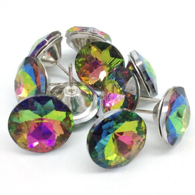 Colorful Crystal Glass Nails Sofa Industry Decoration Fileds Soft Crystal  Nail Tacks KTV Wall Decorative Buckle