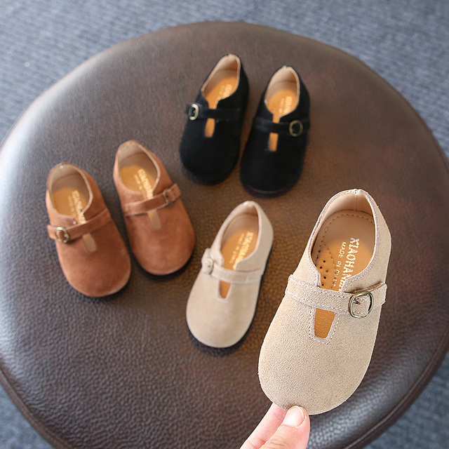 Autumn 2018 new kids shoes 1-3 years old Simple square mouth genuine leather girls Flat suede shoes Super soft and comfortab Girl's Shoes