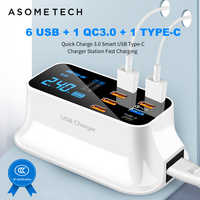 6 USB + 1 QC3.0 + 1 Type C Charge rapide 3.0 écran Led de bureau pour Android Iphone adaptateur téléphone tablette chargeur rapide USB