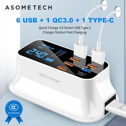 6 usb + 1 qc3.0 + 1 carregador usb carregador rápido 3.0 desktop display led para android iphone adaptador telefone tablet carregamento rápido