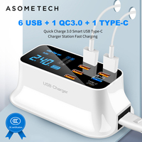 6USB+1 QC3.0+1 Type C Quick Charge 3.0 Desktop Led Display For Android Iphone Adapter Phone Tablet Fast Charging USB Charger