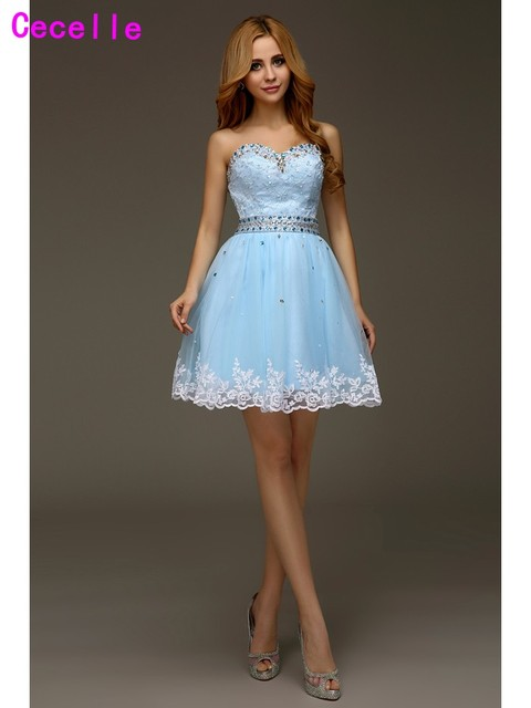 Blue A-line Appliques Beaded Tulle Girls Party Homecoming Dresses