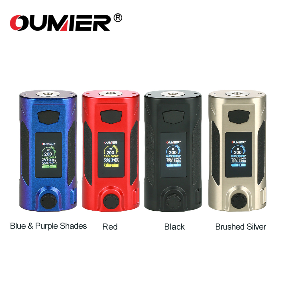 Original OUMIER Rudder 200W Box Mod Electronic Cigarettes 18650 Mods Vaporizer Fit 510 Thread RTA RDA RDTA E-Cigarette Vape Mod
